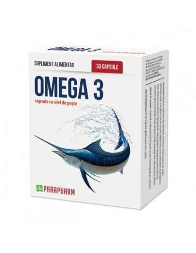 Omega-3 capsule cu ulei de peşte, 30cp - Parapharm Uleiul de peste oceanic contine in concentratii mari doi acizi grasi polines