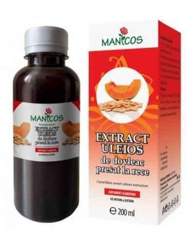 Extract Uleios de Dovleacpresat la rece 200 ml Manicos Uleiul din seminte de dovleac este 100% natural, obţinut prin presarea