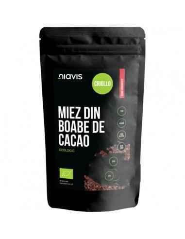 MIEZ BOABE CACAO ECOLOGICE 125GR - Niavis Miezul din Boabele de cacao contine peste 300 de compusi cu un rol important în metine