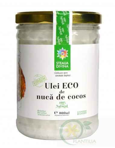 Ulei cocos800 ml BIO Steaua Divina Din compozitia uleiului de cocos fac parte vitamina E, vitamina K, fierul, fitosteroli, aciz