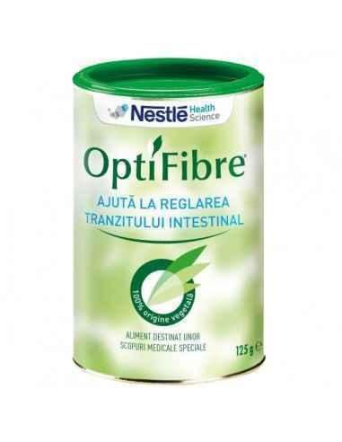 OptiFibre 125g Nestle  OptiFibre conține 100% fibre solubile, cu efect prebiotic, care ajută la reglarea tranzitului intestinal