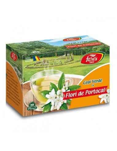 Ceai verde cu flori de portocal 20 plicuri Fares Descoperă aroma delicată a florilor de portocal într-un ceai verde cu efect rev