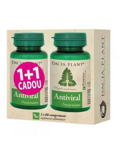 Antiviral 60 + 60 cpr GRATUIT Dacia PlantAntiviral comprimate este un produs natural cu actiune imunostimulenta si antivirala,