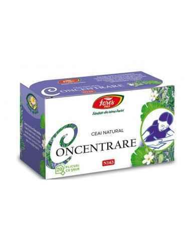 Ceai Concentrare 20 plicuri Fares Stimulează circulația cerebrală, îmbunătățește oxigenarea creierului, susține capacitatea de î