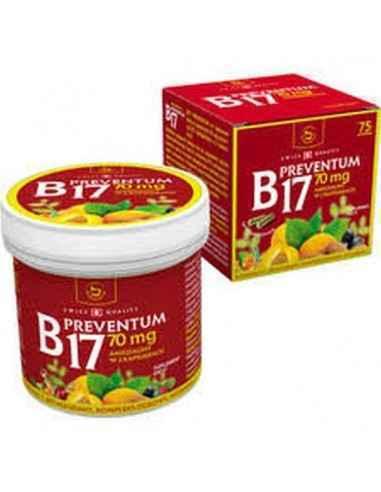 Preventum B17 75 cps Naturali Prod Formulă unică pe care o are combină perfect necesarul zilnic de (Amigdalina), proteină vegeta