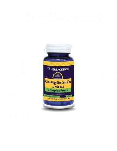 Ca+Mg+Se+Si Organice cu Alga AFA -Complex Organic 120 capsule Herbagetica
