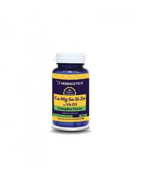 Ca + Mg + Se + Si + Zn cu D3-Complex Forte 60 capsule Herbagetica