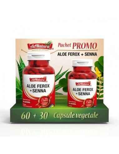 Aloe Ferox + Senna 60 + 30 cps AdNatura Susține sănătatea gastro-intestinală și digestia.