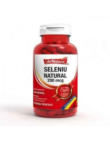 Seleniu Natural 200mcg 60 cps AdNatura Seleniu contribuie la funcționarea normală a glandei tiroide.