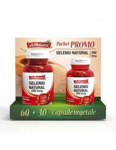 Seleniu Natural 200mcg 60 + 30 cps AdNatura Seleniu contribuie la funcționarea normală a glandei tiroide.