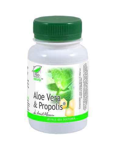 ALOE VERA & PROPOLIS 60 capsule Pro Natura Creste rezistenta organismului fata de infectii.Mentine sanatatea pielii.Regleaz