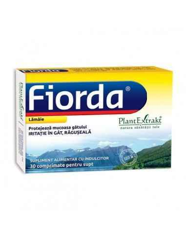 Fiorda cu Lamaie 30 cpr PlantExtraktComprimatele Fiorda formează un film protector pe mucoasele cavității orale, gâtului, laring