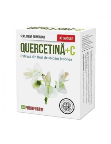 Quercetina + C 30cps Parapharm Produsul contine quercetina naturala extrasa din flori de salcam japonez(Sophora Japonica).