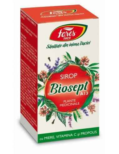 Sirop Biosept Miere Propolis 100 ml Fares, Sirop Biosept Miere Vitamina C Propolis A13 Fares Susţine apărarea organismului împo