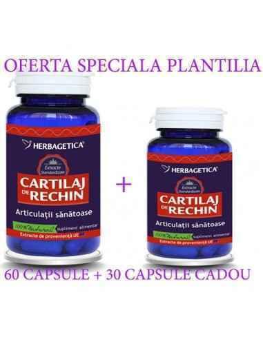 CARTILAJ DE RECHIN 60+60 capsule Herbagetica, CARTILAJ DE RECHIN 60+30 capsule CADOUHerbagetica Susţine sănătatea articulaţiilo