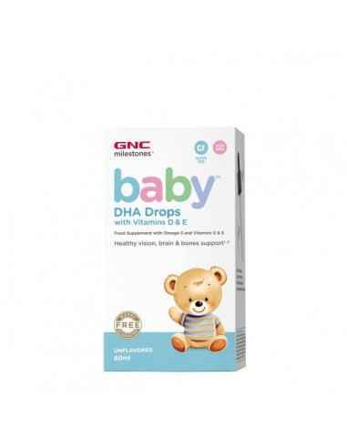 DHA DROPS WITH VITAMINS D & E 60 ML- GNC, GNC Milestones® Baby™ Picaturi cu DHA + Vitamina D si E pentru bebelusi Supliment pe b