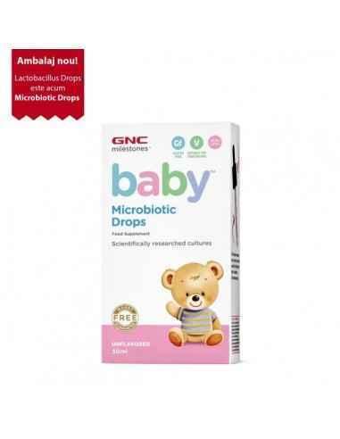 GNC Milestones® Baby™ Microbiotic Drops, Probiotice Picaturi Ofera-i bebelusului tau un inceput excelent in viata, cu ajutorul p