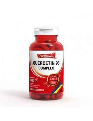 Quercetin 98 Complex 30 cps AdNatura QUERCETIN 98 COMPLEX conține o formulă sinergică pe bază de Quercetină, Bromelaină, Vitamin