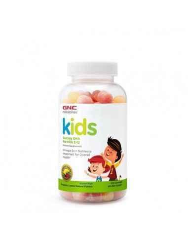 GNC Milestones® Kids Gummy DHA, Acizi Grasi Omega-3 pentru Copii 2-12 Ani Ofera copilului tau nutrienti importanti pentru starea