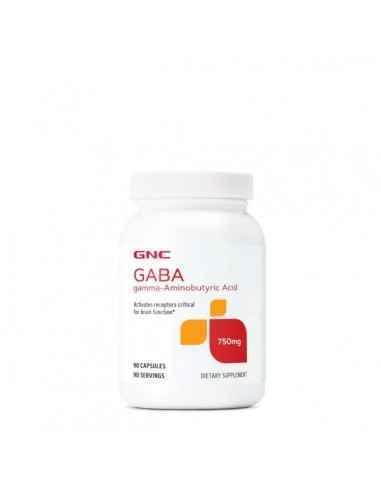 GABA 750 MG, 90 CPS, GNC GABA (acidul gamma aminobutiric) este un aminoacid non-proteic, implicat in activarea receptorilor crit
