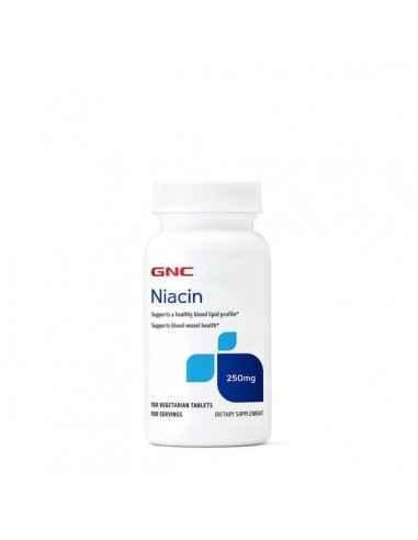 NIACIN 250 MG, NIACINA, 100 TB GNC Niacina joaca o functie importanta in metabolismul energetic si poate stimula functiile cereb