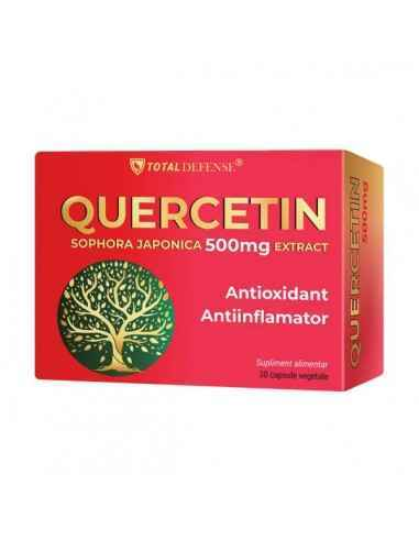 Quercetin 500mg 30 cps Cosmopharm Cel mai abundent flavonoid natural, puternic antioxidant, reduce inflamatia. Absorbtie imedia