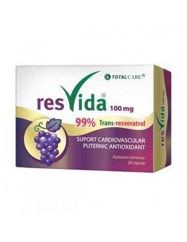 Resvida 100 mg Resveratrol 30 capsule Cosmo Pharm Trans-resveratrolul este metabolitul activ al resveratrolului ce ofera benefi