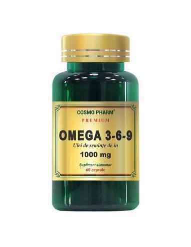 Omega 3-6-9 (Ulei Seminte In) 1000mg 60cps Cosmo Pharm Omega 3-6-9 obtinut prin presarea la rece a semintelor de in, ajuta in