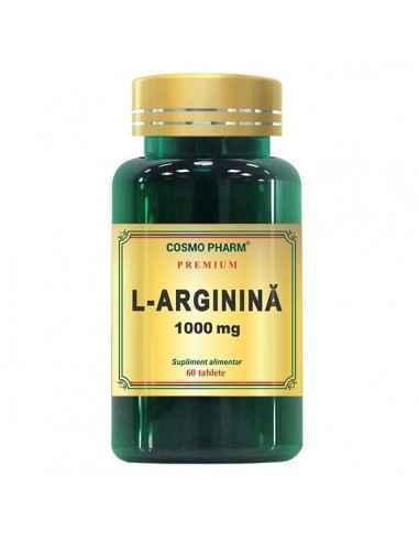 L-Arginina 1000mg 60tb CosmoPharm L-Arginina capsule 1000 mg este un produs din gama Premium ce are la baza un aminoacid nece