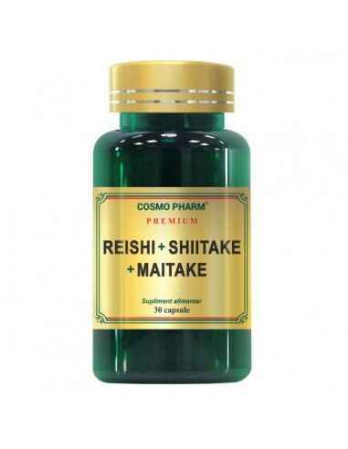 Reishi Shiitake Maitake 30cps CosmoPharm Reishi +Shiitake+Maitake reduce efectele secundare ale chimioterapiei si radioterapiei