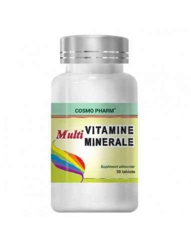 MULTIVITAMINE+MINERALE 30CPR - Cosmopharm Remineralizeaza si revigoreaza cu succes fiecare celula. Contribuie la consolidarea un