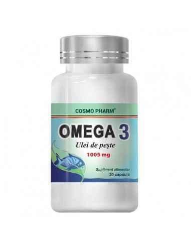 OMEGA 3 ULEI PESTE 30cps - Cosmopharm Sustine sanatatea sistemului cardiovascular,nervos si vederea. Scade colesterolul, triglic