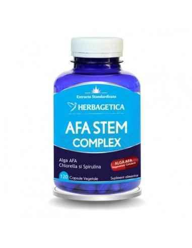 Afa Stem Complex 120 cps Herbagetica AFA STEM COMPLEX conţine 3 alge verzi-albastre (Alga AFA, Spirulina şi Chlorella) cu efecte
