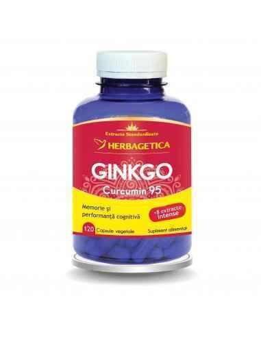 Ginkgo Curcumin 95 120 capsule Herbagetica Susține regenerarea cerebrală, este neuroprotector, antioxidant, combate ateroscleroz