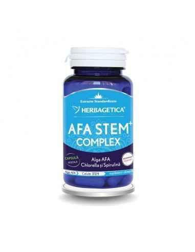Afa Stem Complex 30 cps Herbagetica AFA STEM COMPLEX conţine 3 alge verzi-albastre (Alga AFA, Spirulina şi Chlorella) cu efecte