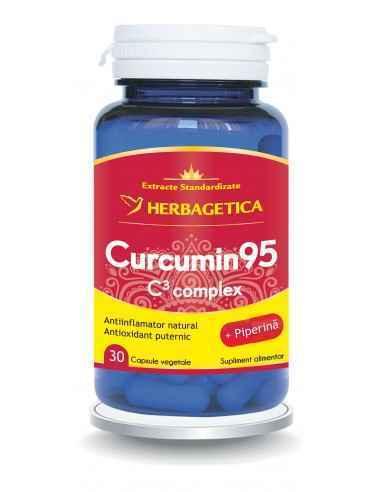 Curcumin 95 C3 Complex 30 capsule HerbageticaEste antioxidant, antiinflamator, antidepresiv, antitumoral, protejează și detoxifi