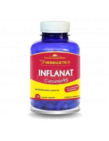 INFLANAT CURCUMIN95 120 capsule Herbagetica Este antiinflamator, antioxidant, distruge celulele canceroase și maligne, atenuează