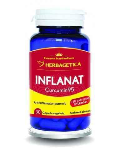 INFLANAT CURCUMIN9530 capsule Herbagetica Este antiinflamator, antioxidant, distruge celulele canceroase și maligne, atenuează