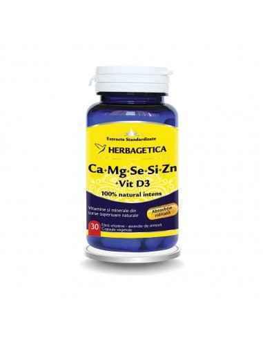 Ca+Mg+Se+Si + Zncu D3-Complex Forte 30 capsule Herbagetica Reduce oboseala, menține sănătatea sistemului nervos, susține sistemu