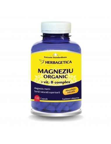 Magneziu Organic cu B Complex 120 capsule Herbagetica, Magneziu Organic cu B Complex 120 capsule HerbageticaMagneziul natural r