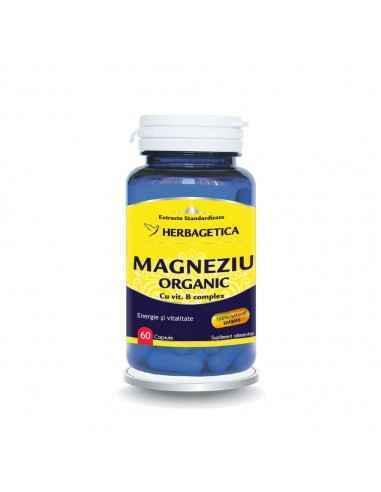 Magneziu Organic cu B Complex 60 capsule Herbagetica, Magneziu Organic cu B Complex 60 capsule HerbageticaMagneziul natural rep