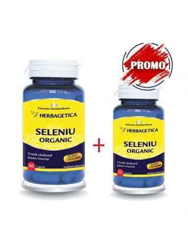 Pachet Seleniu Organic 60 +30 capsule GRATIS Herbagetica Scade glicemia, întărește sistemul imunitar, îmbunătățește funcțiile gl