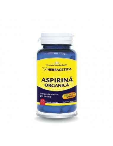 Aspirina Organica 30 capsule Herbagetica Adjuvant în cazul inflamaţiilor generale şi articulare, nevralgiilor, diminuează simpto
