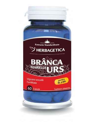 Branca Marelui Urs 60 capsule Herbagetica Brânca Marelui Urs are efecte benefice asupra fertilității masculine prin îmbunătățire