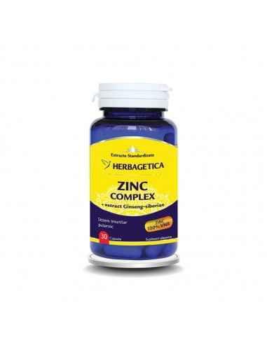 Zinc Complex 30 capsule Herbagetica, Zinc Complex 30 capsule HerbageticaMenține sănătatea sistemului osos, a părului, unghiilor