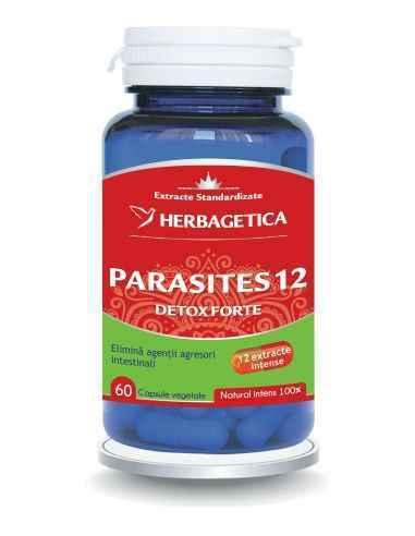 Parasites 12 Detox Forte 60 capsule Herbagetica Parasites 12 Detox Forteeste o formulă originală, 100% naturală, ce conține 12