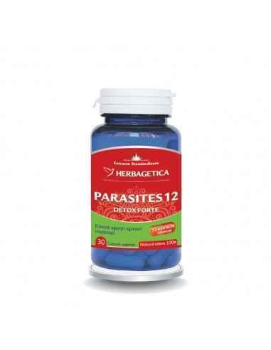 Parasites 12 Detox Forte 30 capsule Herbagetica Parasites 12 Detox Forteeste o formulă originală, 100% naturală, ce conține 12