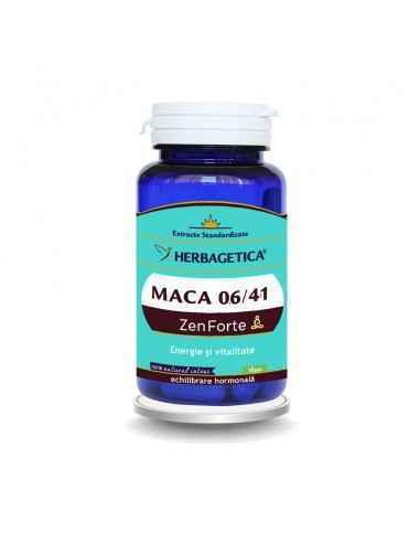 Maca 0.6/4:1 Zen Forte 30 capsule Herbagetica Maca 0.6/4:1 Zen Forte cu dubla standardizare: extract Maca 4:1 și extract din Mac