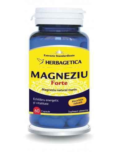 Magneziu Forte 60 capsule Herbagetica Magneziu Forte oferă o concentrație ridicată de Magneziu natural marin, perfect asimilabi