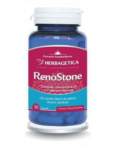 RenoStone 30 cps Herbagetica Renostone este un produs cu o compoziție complexă formată din 12 extracte fitoterapice care au rol